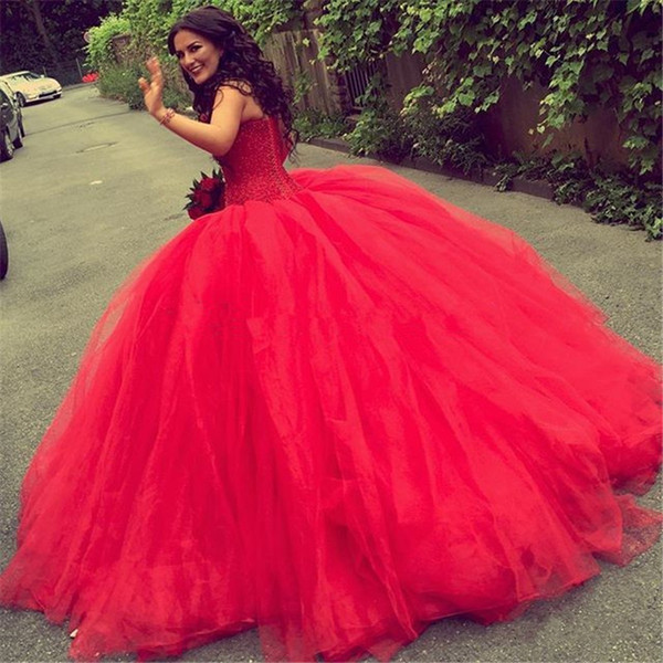 Luxury Red Ball Gown Arabic Wedding Dresses 2016 Full Beaded Top ...