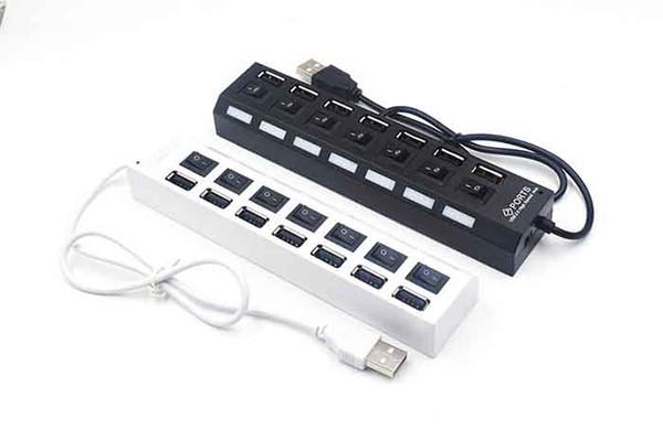 USB 2.0 HUB Power Strip 7 Puertos Socket LED Light UP Concentrador con interruptor Adaptador de CA para teclado de ratón Cargador PC Desktop Laptop Tablet