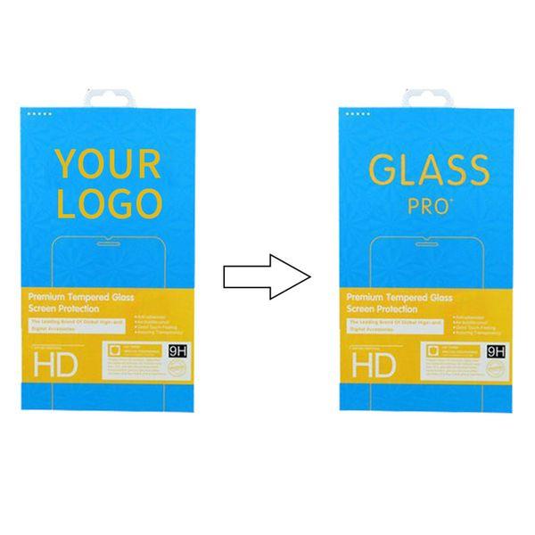 100 piezas de embalaje personalizado para vidrio templado Paquete de papel personalizado de clase Hige Empaquetado vacío original para Apple Adrio con borde láser