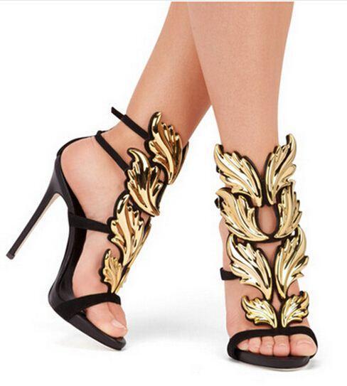 Top Brand Summer New Design Women Fashion Cheap Gold Silver Red Leaf High Heel Peep Toe Dress Sandals Shoes Pumps Women