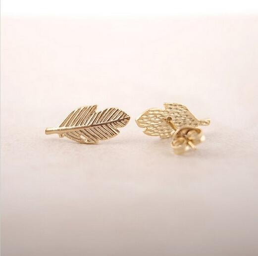 10pcs/Fashion A leaf earrings 18K Gold Plated/silver plated/rose gold plated earrings wholesale free shipping