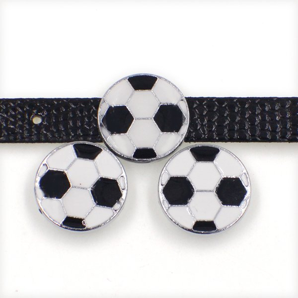 Wholesale football soccer zinc alloy 10mm slider Charms DIY Accessories Fit 10mm Pet Collar wristband SL497