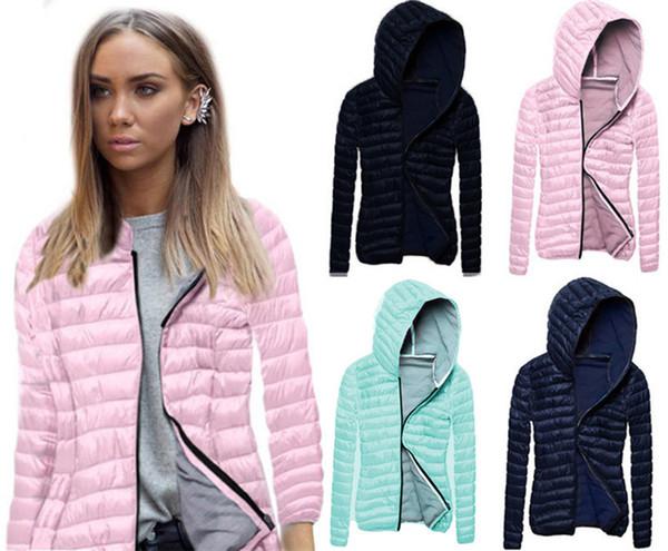 Casual chaqueta de las mujeres otoño invierno 2017 de manga larga con cremallera más tamaño abrigo delgado chaqueta de algodón con sombrero de color sólido mujeres vestir OYN171011