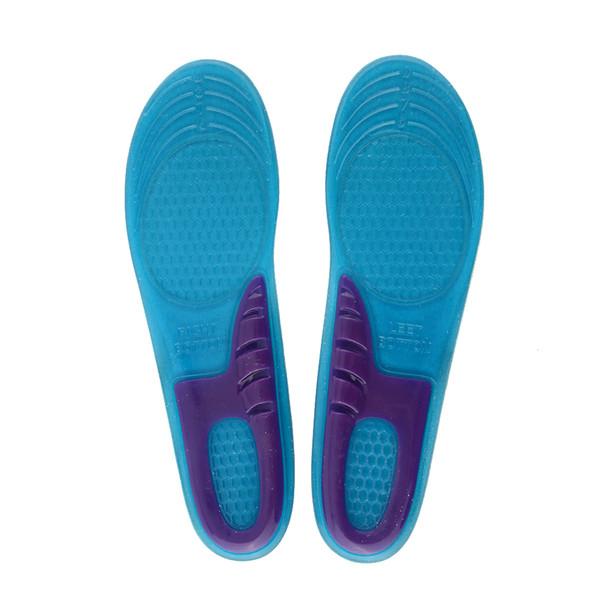 2 PCS / LOT Chaussure Bleu Silicone Gel Pad Talon Pieds Insert Semelle Intérieure Coussin Confortable Anti-Vibration Doux pour Trainning Sports
