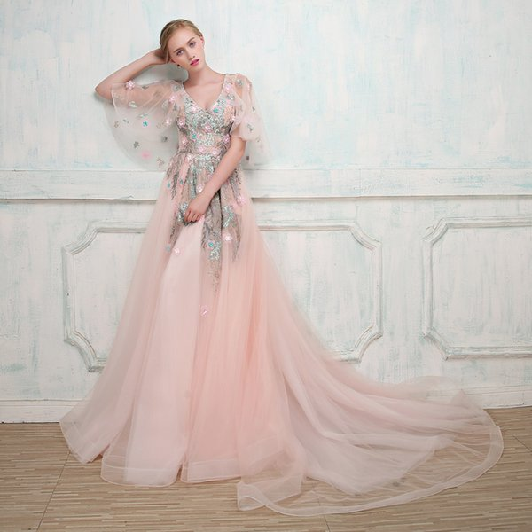 Evening Dress 2017 Sweet Pink V Neck Poet 34 Sleeves High End Lace