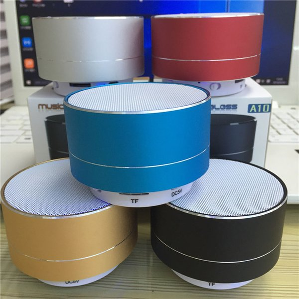 NEW Fashion A10 Modern Aluminum Alloy Cylinder Wireless Bluetooth Speaker With LED Light Handsfree TF Card Music Subwoofer Stereo Speakers
