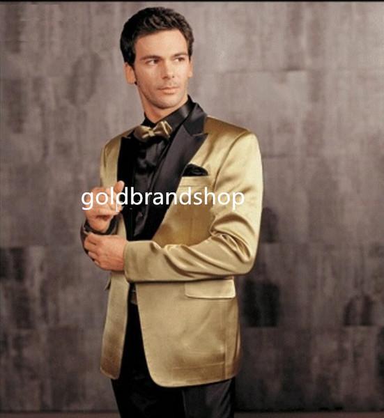 One Button Gold Jacket Black Pants Groom Tuxedos Peak Lapel Groomsman Men Wedding Tuxedos Bridegroom Suits (Jacket+Pants+Tie)