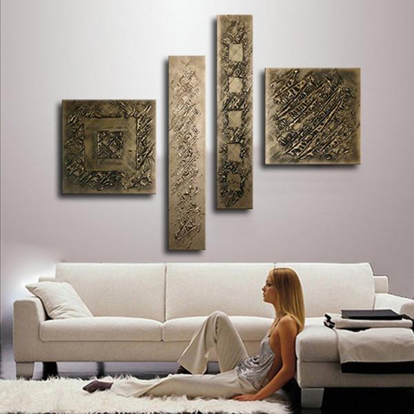 Acheter 4 Panneau Photos Mur Art Ensembles Peint à La Main Bronze Couleur Peinture à L Huile Sur Toile Moderne Maison Abstraite Peintures Pour Salon