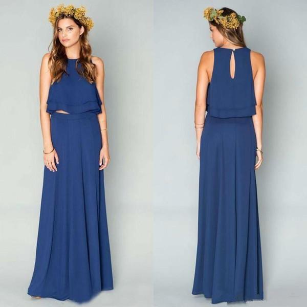 Simple Two Pieces Cheap Bridesmaid Dresses Long Navy Blue Jewel Neck ...
