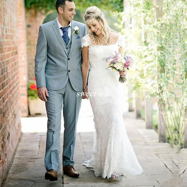 2016 Boho Romantic Country Style Sheath Cap Sleeves Wedding Dresses with Beaded Sash Square Lace Court Train Bridal Wedding Gowns Plus Size