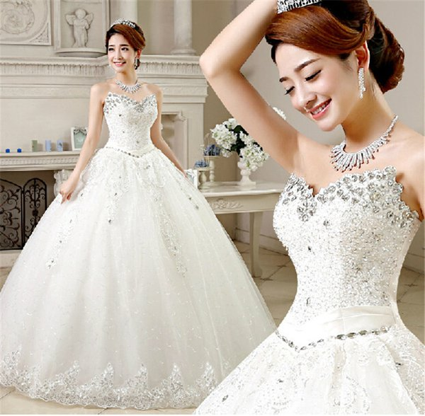 Sexy luxury crystals Sweetheart Beading Applique lady wedding dresses bride dress evening gowns Bridal Dresses Gowns Dress Custom
