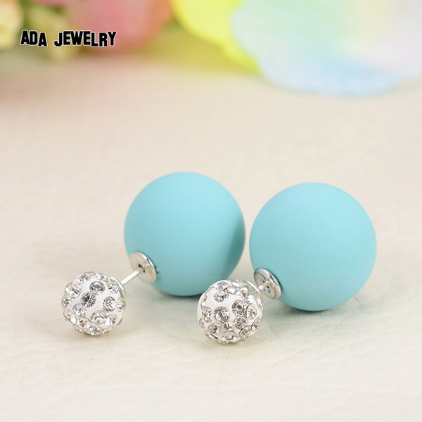 2016 Bright Crystal Beads Double Side Imitation Pearl Stud Earrings Women Big Matte Balls Statement Pusety Earrings Wholesale