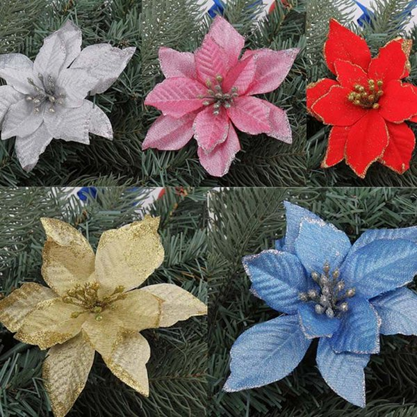 13 cm shiny christmas flower poinsettia flower christmas tree decoration artificial flowers wedding party decoration festive - Christmas Flower Decorations