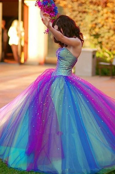 Robes de Quinceanera bleu et violet arc en ciel robe 2016 avec balayage train perlé dentelle douce 16 Quinceanera Party robes