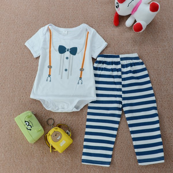 England Style Boy Outfit Romper Pants Hat Suit Kid Clothing Preppy Toddler 3PCs Wholesale Clothes Fake Suspenders Bowtie Adorable Boys 6-24M