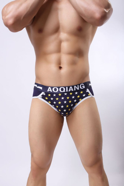 AOQIANG21 Wholesale Mens Underwear Cotton Briefs Star Pattern Comfortable Mens Undies Boys Underwear Store Free Shipping 2018 New Styles