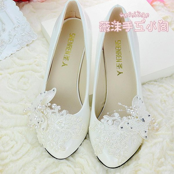Handmade Ivory Pearl Lace Wedding Shoes Butterfly Beads Flat 4.5cm 8cm Heel Low Heel Bridal Shoes Custom Made Size Shoes Bridesmaid Shoes