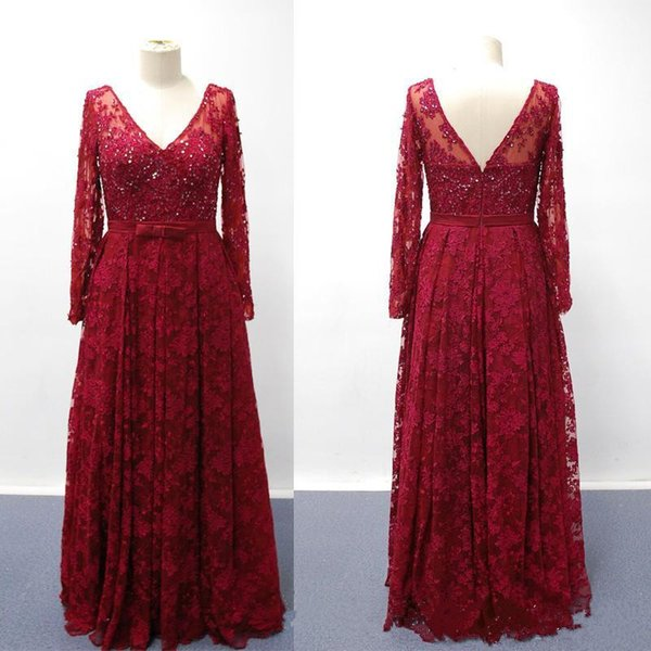 Vintage Lace Mother of Bride/Groom Dresses V Neck Long Sleeve Beads Floor Length Evening Wear Gowns Dark Red A-Line Mothers Dress