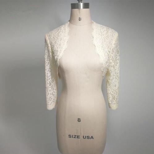 Cheap White Ivory Lace Bridal Boleros Wedding Jackets for Women Bride Long Sleeve Cropped Wrap Shrug for Evening Dress