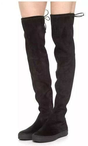 high quality~ U508 40 GENUINE LEATHER PLATFORM STRETCH THIGH HIGH FLAT BOOTS SW BLACK BROWN LACED