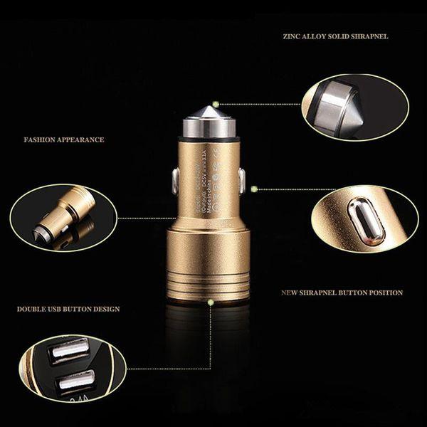 Hohe Qualtity Handy-Auto-Ladegerät-Farben-Aluminiumlegierungs-Sicherheits-Hammer-Metallschnelles neues Art-LED-Licht-Doppelstecker-Ladegerät