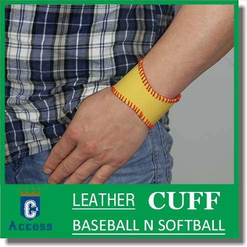best selling 2017 Softball Baseball Leather Wristband Bangle Cuff Bracelet