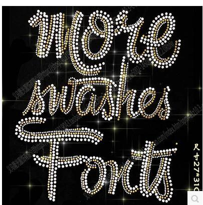Hot DIY 27*31cm letter hot bling crystal patterns clothing accessories Hot Fix Rhinestones motif Heat Transfer on Design Iron On clothes