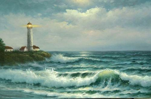 lighthouse beach sunset ocean waves,Free Shipping,Pure Hand-painted Seascape Art oil painting On Canvas in any size customized