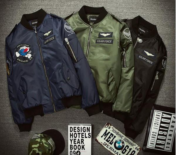 2016 New Warm Autumn US air force jackets stand collar fiber men Outerwear Coats Military US army Zipper blazer