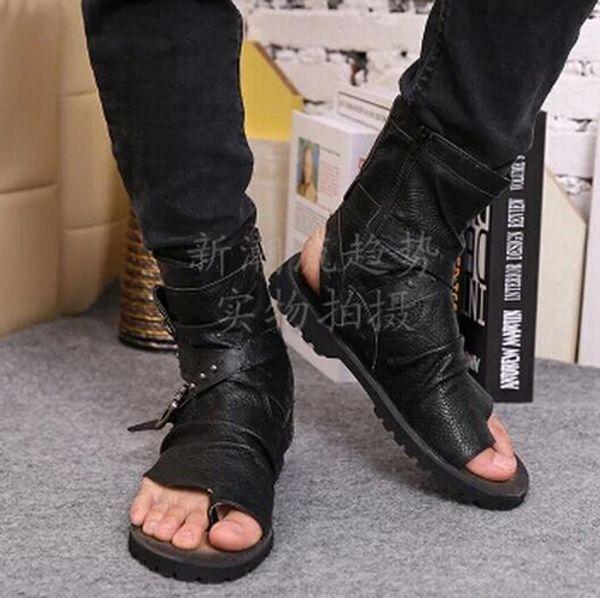 2016 Hot Summer Toe-Knob Hommes Sandales Gladiator Hommes Été Moto Bottes Noir Ouvert Talons Hommes Chaussures De Luxe Zapatos Hombre