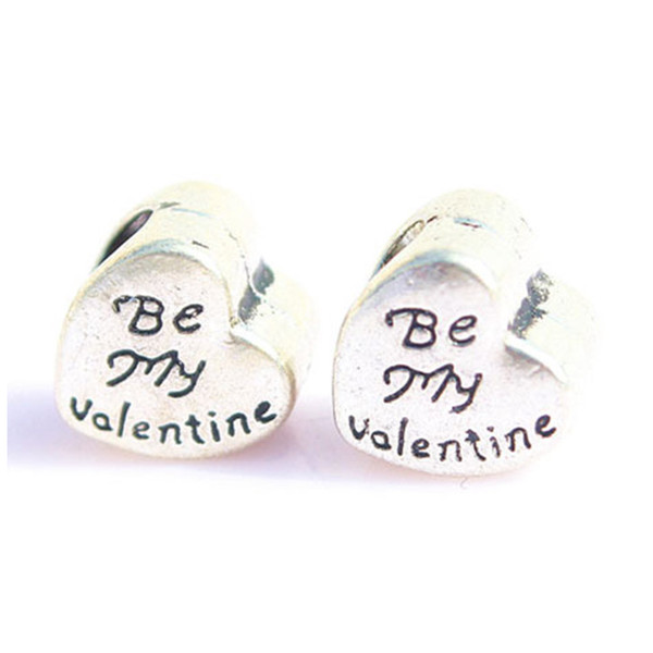 BE MY VALENTINE Bead Pendants For Pandora Bracelets Mix Silver Big Hole Beads Loose Beads Charms For DIY European Jewelry Accessories