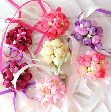 2017 neue heiße Verkauf Hochzeit Seide Braut Brautjungfer Handmade Bouquet Hand Blumen Handgelenk Corsagen