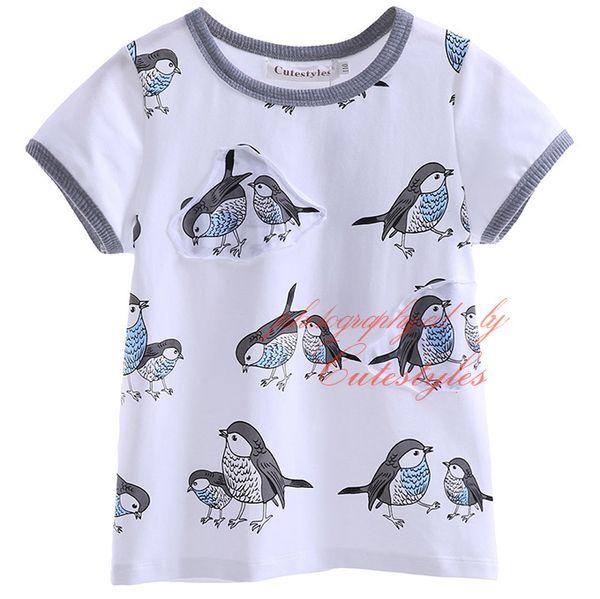 New Arrival Cutestyles Print T Shirt For Boys Fashion Little Birds Pattern Tops O Neck Collar Short Sleeves Kids Wear BT90413-28L