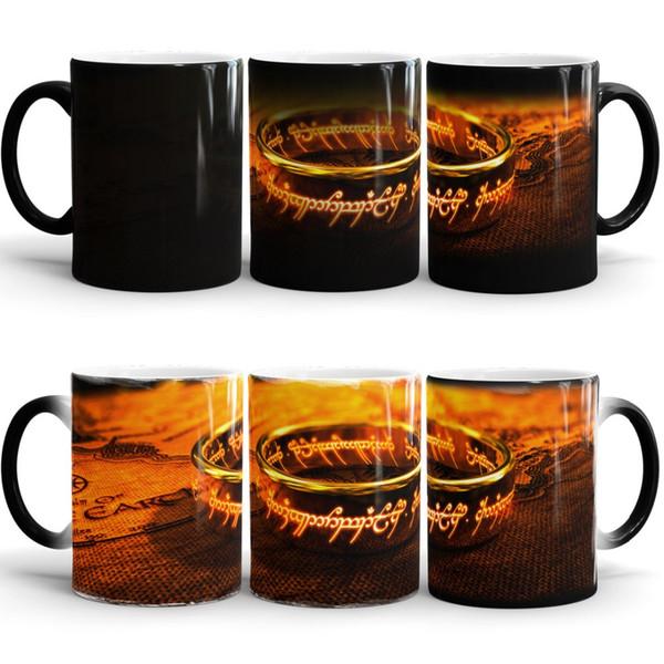Vente en gros - le seigneur des anneaux art froid tasse chaleur sensible mug chaleur transformant la chaleur changeant de couleur en céramique
