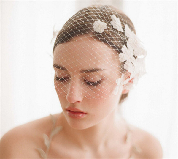 Vintage Wedding Bridal White Birdcage Veil Face Net Flower Combs Fascinator Headdress Hair Accessories Net Headband Jewelry Wholesale Bridal Veil