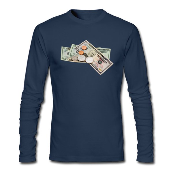 Long sleeve cotton t-shirt and new men's t-shirt fashion outdoor leisure oversize cotton T-shirt 2XL print money tops