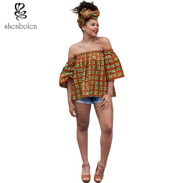 Wholesale- 2017 summer african clothing tops for women batik wax Ankara printing pure cotton sexy boat neck top loose shirt plus size S-5XL