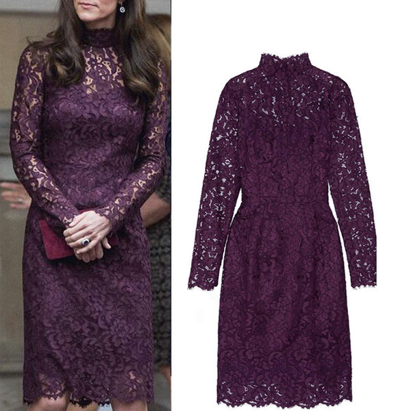 2017 Hot Selling Lace Dress Kate Middleton Same Dark Purple One Piece Dress High Quality Long Sleeves Knee Length Dress Plus Size