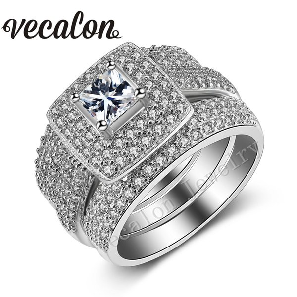simplefashion / Vecalon 188pcs Topaz Simulated diamond cz 14KT White Gold Filled 3-in-1 Engagement Wedding Band Ring Set for Women Sz 5-11