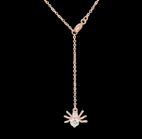 Wholesale fashion spider pendant necklace rose gold white gold round fashion spider pendant necklace rose gold white gold round clear cubic zirconia choker pendant necklaces jewelry aloadofball Image collections