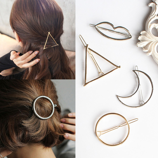 best selling Vintage Gold  Silver Circle Lip Moon Triangle Hair Pin Clip Girls' Hair Clips Metal Hair Accessories