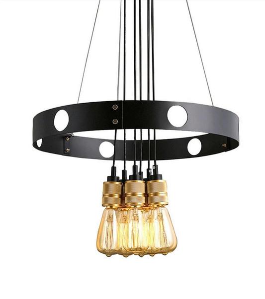 Loft Vintage Iron Art led pendant light edison American Country Style Round industrial pendant lighting Dining Room Cafe Bar chandelier E27