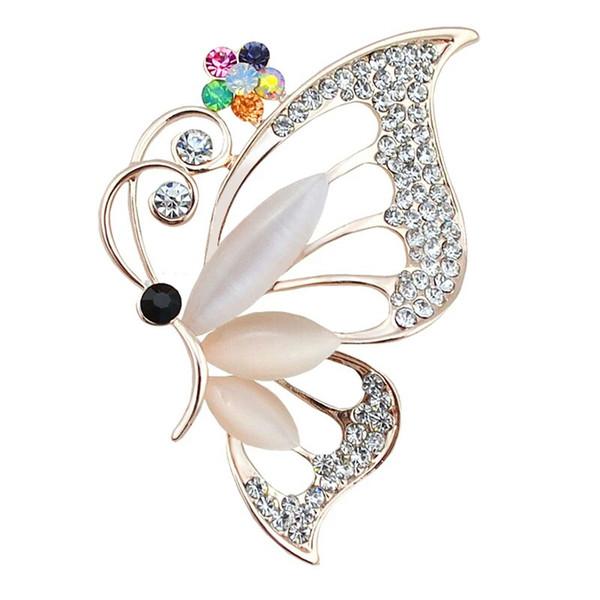 Decorativo Vestido de Jóias de Cristal Borboleta Broche Pin para Liga de Opala de Ouro Broches Animais para Mulheres Saco Do Chapéu Cachecol Acessórios Bijoux