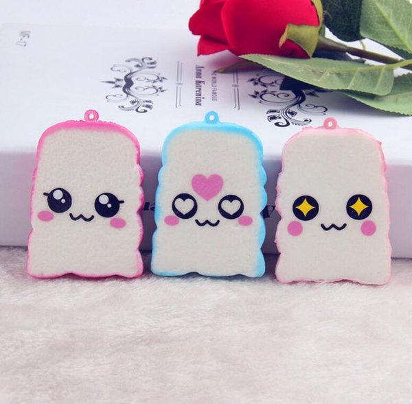 Free Ship 30pcs 5cm Emotional Toast Bread Squishy Food Kids Kitchen Toy Food Charm DIY Cell Phone Straps Fashion Bag Pendant Chirstmas Gift