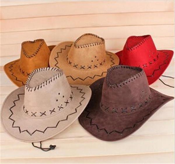 ce7ef601abcdd Wholesale Unisex Mens Faux Felt Western Cowboy Hats Casual Wide Brim Sun Hat  For Women 48pcs