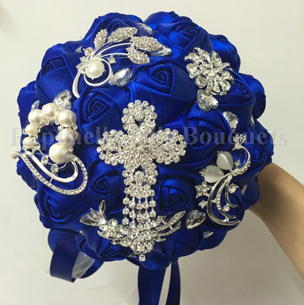 Ücretsiz Kargo Süper Popüler Kraliyet Mavi Gelin Düğün Buket Elmas Boncuklu Broş Düğün Gelin Buketi Ile Özelleştirilmiş