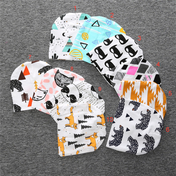 best selling kids INS purified cotton hats children fashion cartoon caps INS fox beanies panda tiger hats printed Baby caps E548