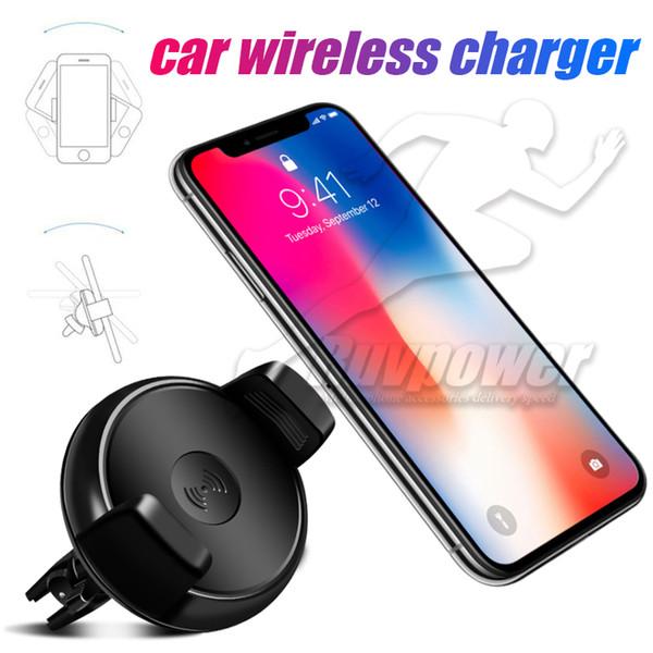 Caricabatteria da auto senza fili Caricatore wireless per auto Qi Magnetic Rotation da 360 gradi per iPhone X 8 plus Samsung S8 Plus S7 Nota 8