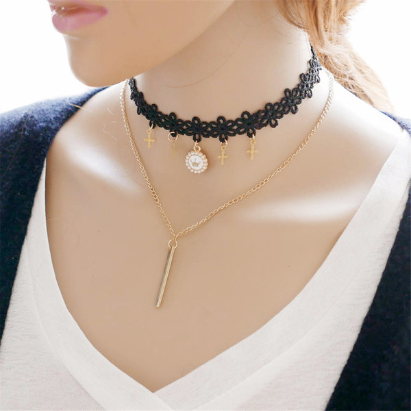 Black Gothic Collar Lace Cross Pendant Necklace Multilayer Alloy Y Chain Chock Jewelry For Women Pack of 10PCS