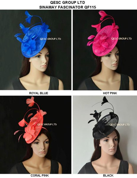 Nuovo arrivo. sinamay Fascinator Feather Hat per Melbourne cup, Wedding.Kentucky derby, Races.royal blu, nero, rosa caldo, rosa corallo.